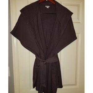 DKNY roomy brown fleece 4-way wrap with hood